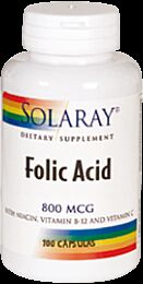 Solaray Acid Folico 800 mcg 100 Cápsulas